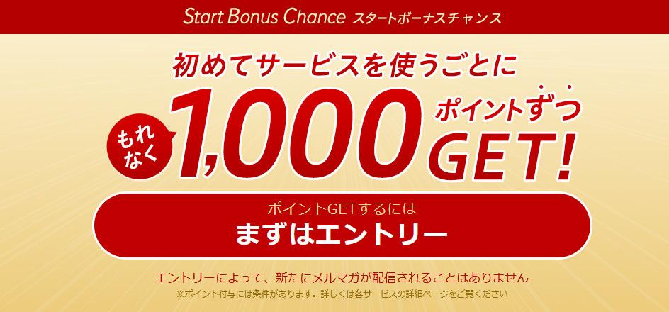 楽天スタートボーナスチャンスで1000円お得に!