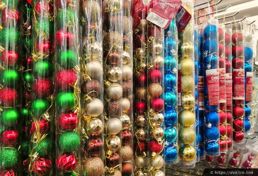 ▲ ダイソーのクリスマスオーナメントコーナー