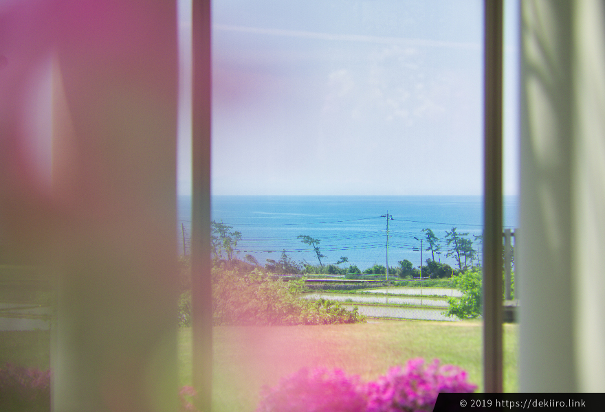 温室から見渡す日本海