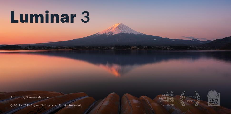 画像編集ソフト「Luminar 3」の起動画面
