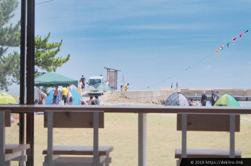 能登島「まぁそいカフェ」から眺める八ヶ崎ビーチ