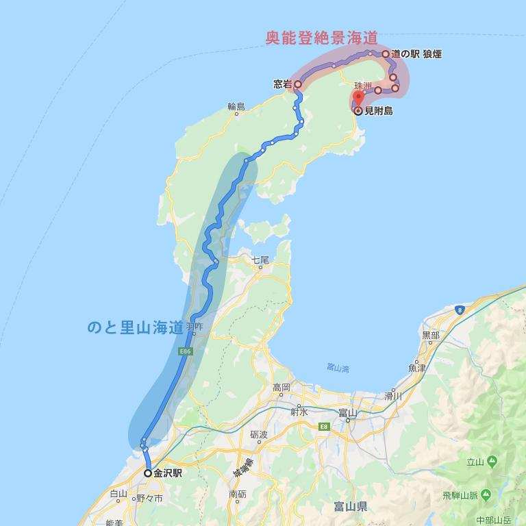 金沢から奥能登までのドライブルート概要マップ