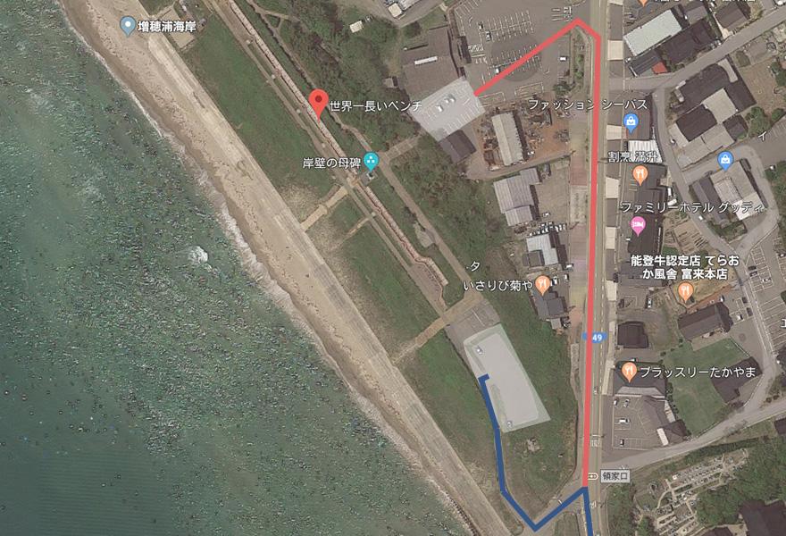 ときめき桜貝廊の駐車場アクセスマップ