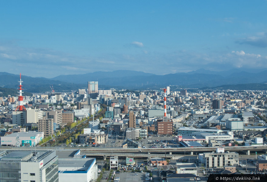 金沢駅方面、東側の昼間の景色