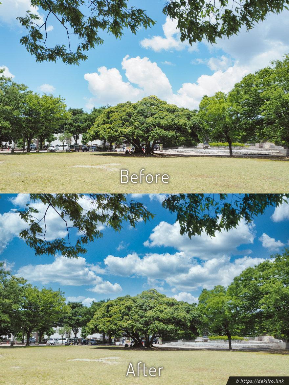 金沢市の公園、空を置換してみる
